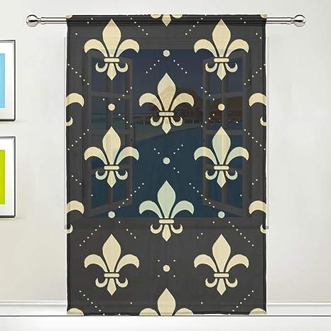 Amazon Com Fleur De Lis Gold 78 Inch Sheer Curtains Window Voile Panels For Bedroom Kitchen Home Kitchen