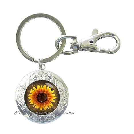 Amazon.com: Hermoso llavero con diseño de girasoles y flores ...