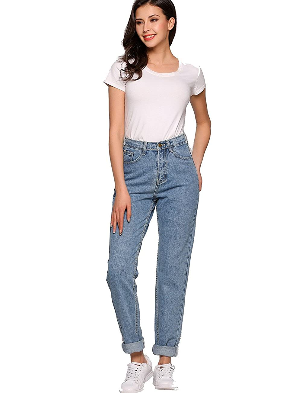 5cff5c2e879d AKEWEI Boyfriend Jeans for Women 1980s High Waist Loose Fit Classic  Straight Pants at Amazon Women's Jeans store