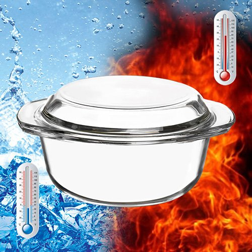 Glass Bakeware, Glencreag 1.4 Liters Round Clear Tempered Glass Casserole Baking Dish with Lid, Heat-resistant and Unbreakable Covered Glass Casserole
