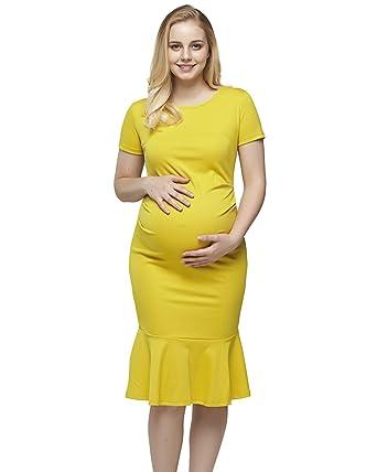 8e614264b484 StrabElla Womens Maternity Dress Bodycon Ruched Short Sleeve Mermaid Dress  Pregnancy Dresses