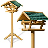 Standing Bird House - Traditional Bird Feeder with Roof - 40.5 inch Bird Table - Classic Wooden Feeding Station High Quality