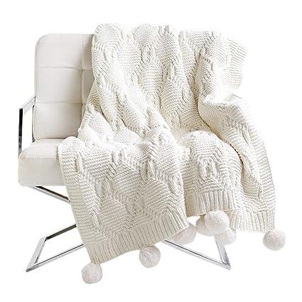 Amazoncom Pom Pom Plush Throw Blanket Luxurious Lovely Lounge