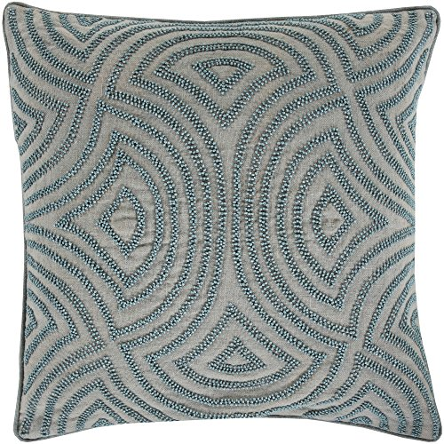 Surya SKD001-1818P Synthetic Fill Pillow, 18-Inch by 18-Inch, Light Gray/Slate/Coral ()