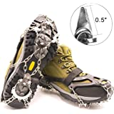 SHANLU Snow Grips, Traction Cleats/Ice Grips for Shoes with 18 Spikes, Anti-Slip Stainless Steel Crampons for Mountaineering & Ice Climbing/Camping & Hiking (M/L / XL)
