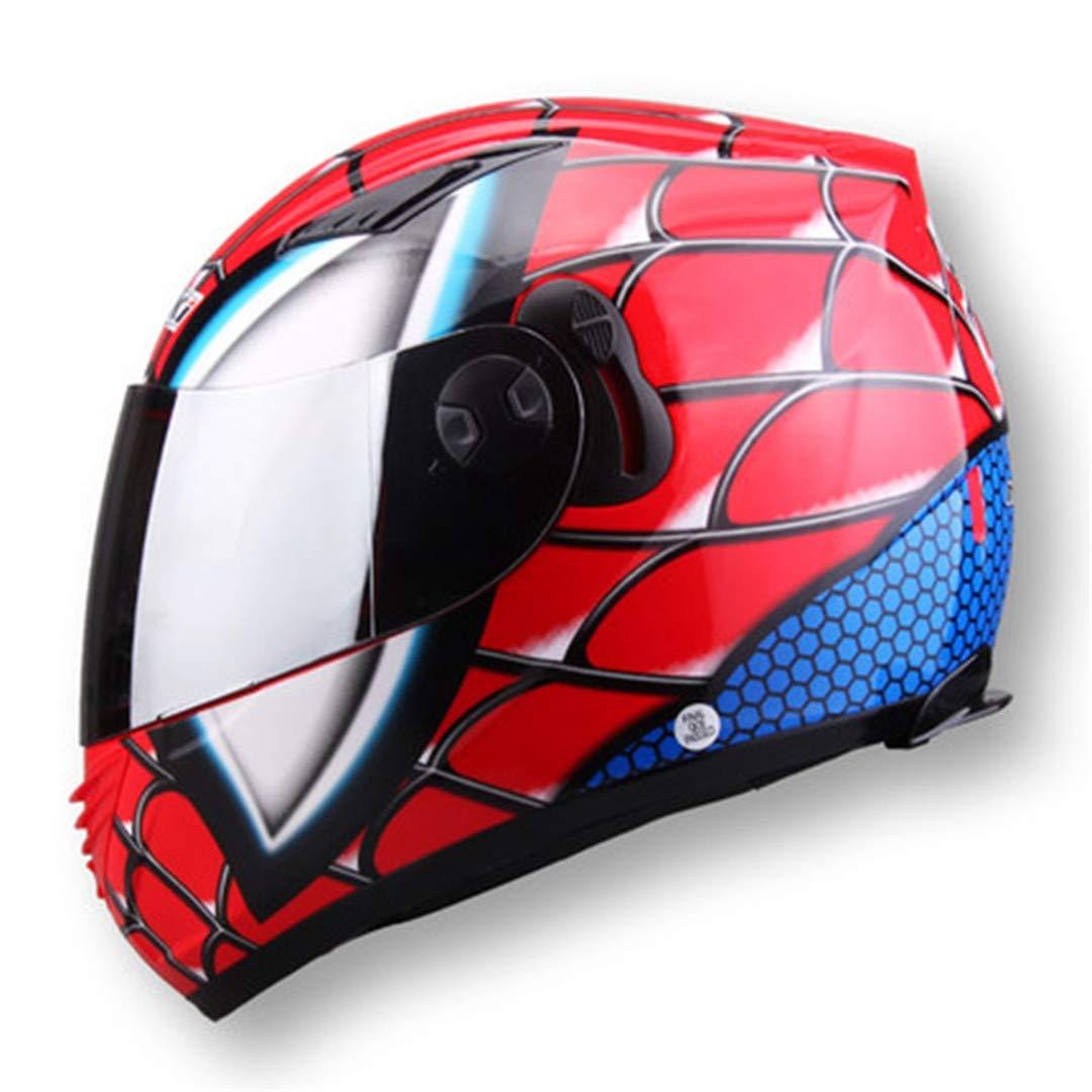 MATEROP Cascos Iron Man Racing Casco de Motocicleta de Cara Completa Araña Lente Doble Casco Moto: Amazon.es: Deportes y aire libre