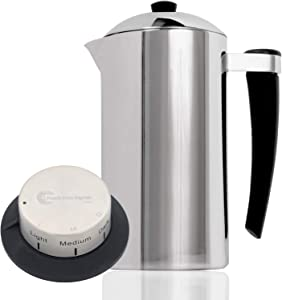 French Press Express Stainless Steel Coffee Press - Double-Wall Ergonomic Design - 1 Liter - Comes w/Coffee Timer