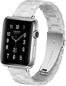 LINKWOW Resin Strap Compatible with Apple Watch Band 38mm 40mm 42mm 44mm Series1 Series2 Series3 Series4 Series5,Ladies and Men Fashion Resin Watch Strap,iWatch Replacement Wristband/Bracelet