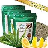 Clay Mask - Bentonite, Aloe Vera & Lemon Peel Powder (Pack of 3). Indian Healing Clay, Fullers Earth Powder for Facial Mask, Hair, Bath & Spa