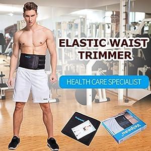 Elastic Waist Trimmer - Lower Back Support - Abdominal Belt - High Quality Neoprene Waist Belt Relieves Strain of Lumbar Muscles for Men & Women by Velpeau