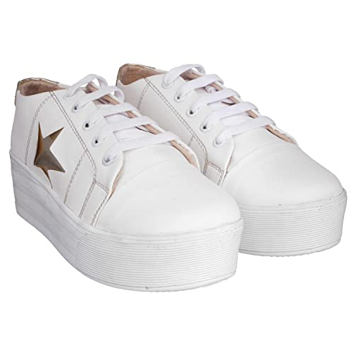 White Color Synthetic Material Sneakers