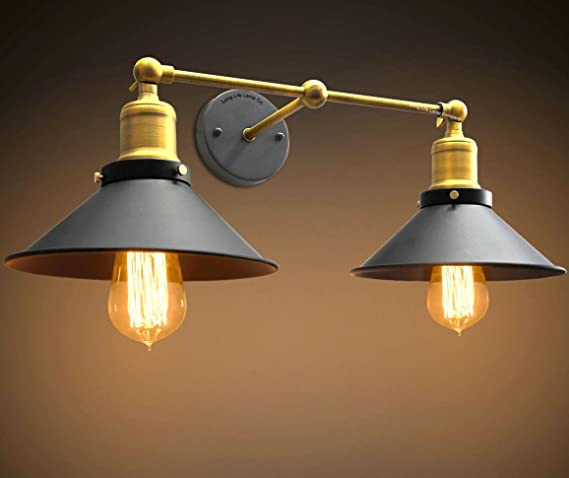 Modern vintage industrial antique brass adjustable double black modern vintage industrial antique brass adjustable double black scone wall light lamp shade wd025 2 aloadofball Choice Image