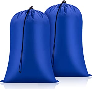 FreDorm Extra Large Laundry Bags 2 Pack Heavy Duty XL Camp Organizer Bag Travel Dirty Clothes Storage Drawstring Closure College Dorm Tear Resistant Big Hamper Liner 28 x 48 inch Blue