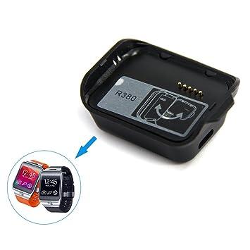 HZY Portátil Cargador Estación Carga Cargador del Reloj Inteligente Cargador Magnética Base + USB cable para Samsung Galaxy Gear2 R380 reloj inteligente: ...
