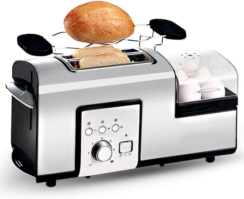 VIVICL 5 in 1 Bread Machine with Egg Boiler 2 Slice Toaster with Mini Frying Pan Multifunctional Automatic Household Steam, Wide Slit, 7 Browning Modes Control