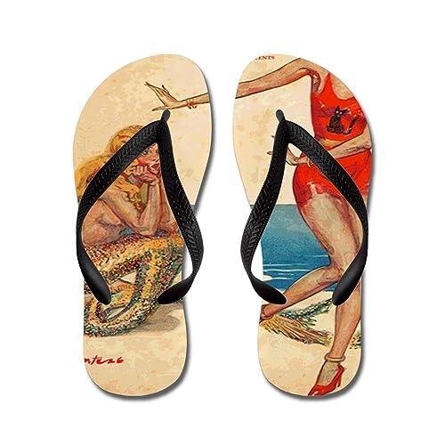Vintage Mermaid and Flapper - Flip Flops Funny Thong Sandals Beach Sandals