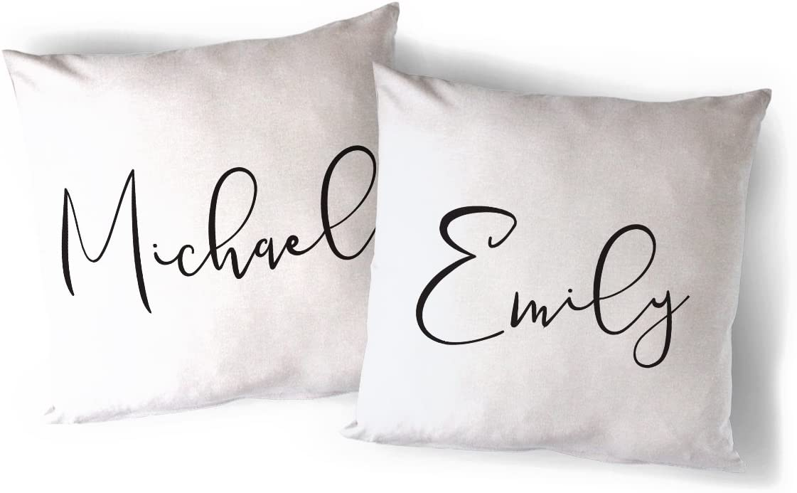 The Cotton & Canvas Co. Personalized Couple Names Home Decor Pillow Cover, Pillowcase, Cushion Cover and Decorative Throw Pillow Case, 2-Pack (Natural Color, Not White)