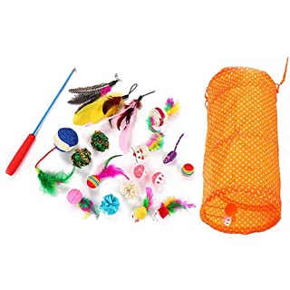 Wellouis 20Pcs / Set Cat Toys Set con Carry Bag, Cat Teaser Stick Feather Toys Pet Ball Rings Interactive Products
