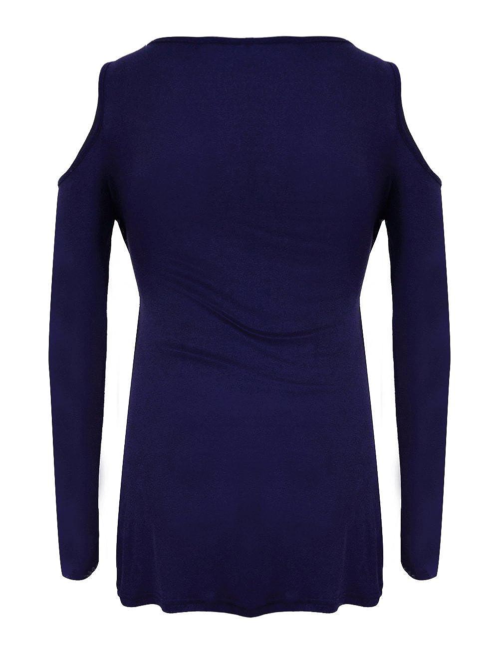 Mujer Blusa Tirante Hombro Descubierto Elástico Manga Larga Tunica Tops Camiseta Moda (m, Azul): Amazon.es: Ropa y accesorios