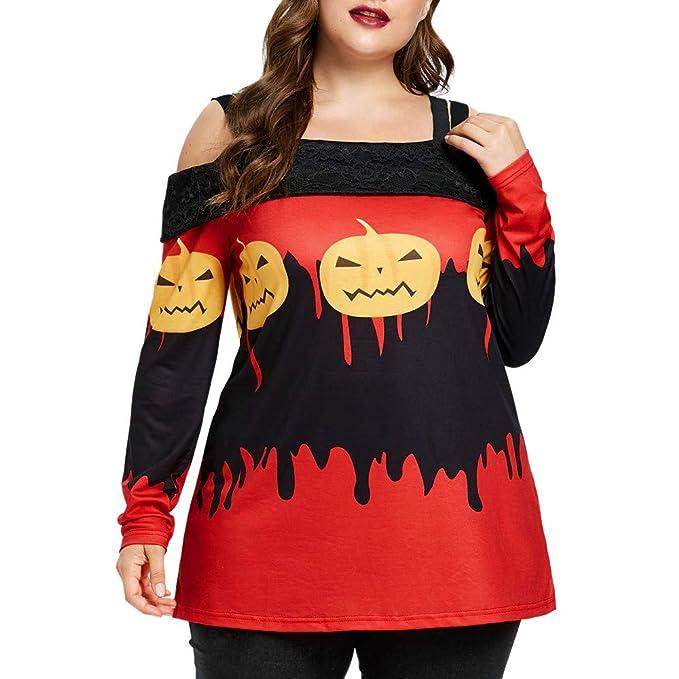 Luckycat Camiseta de Manga Larga con Estampado de Calabaza de Manga Larga para Mujer de Halloween