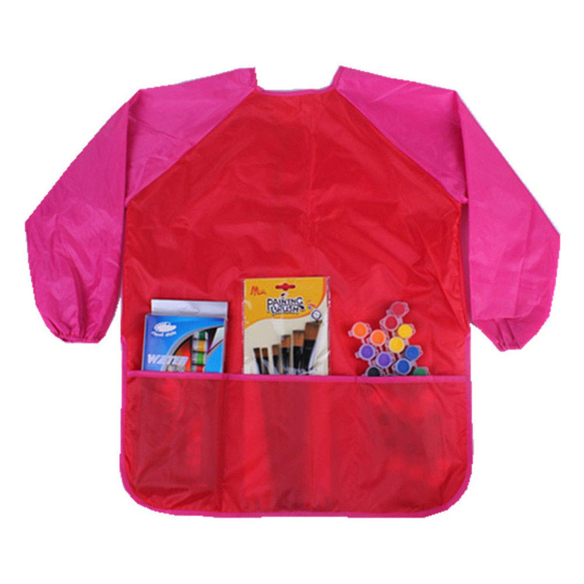DFSanaShanao Long Sleeve Soft Art Smocks Stain-Resistant Paint Toddler Kids Children Waterproof Apron Saliva Towel Bib Clothes (Red) XIAO