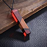 Color Jewelry Fashion Colored Resin Wood Pendant Rope Chain Necklace (Red)