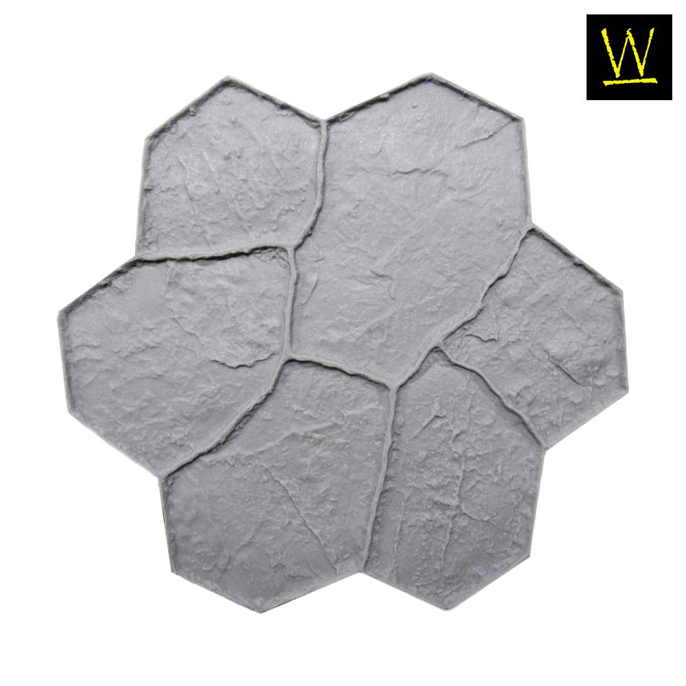 New Random Stone Concrete Stamp Single by Walttools | Decorative Stone Tile, Rotational Pattern, Sturdy Polyurethane Flexible Texturing Mat, Realistic Detail (Floppy) by Walttools