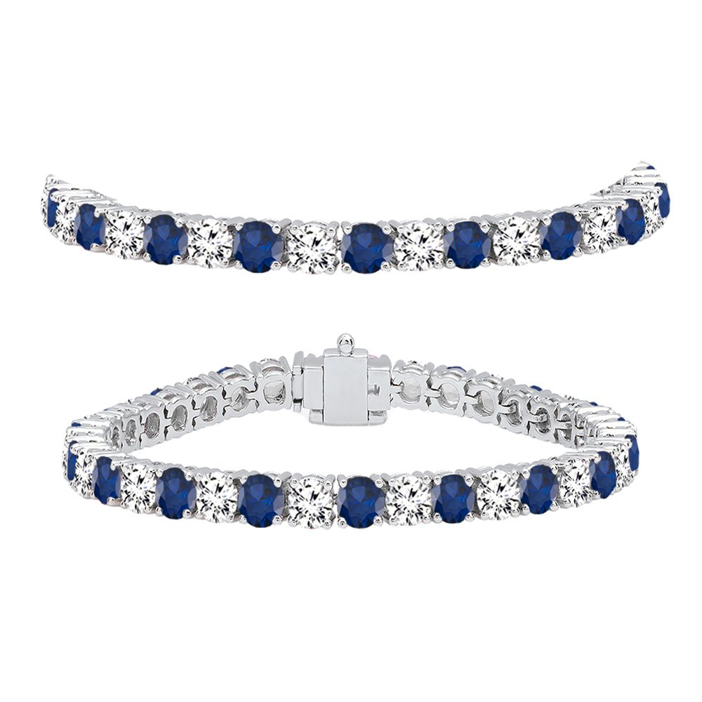 18K White Gold Round Real Blue Sapphire & White Diamond Ladies Tennis Bracelet