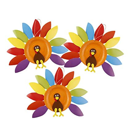 Amazon Com Amosfun 3pcs Thanksgiving Diy Handmade Turkey Hanging