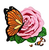 Abreeze Hand Embroidery Rose Floor Mats Rural Style Cute Butterfly Area Rug Home Decoration Floor Rugs Handmade Washable Door Mats,1 Rose, Pink Review