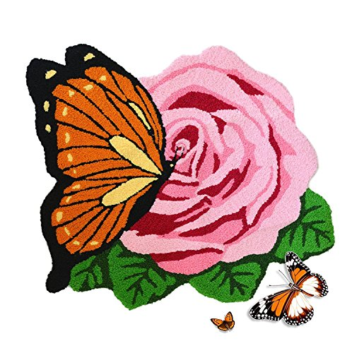 Abreeze Hand Embroidery Rose Floor Mats Rural Style Cute Butterfly Area Rug Home Decoration Floor Rugs Handmade Washable Door Mats,1 Rose, Pink