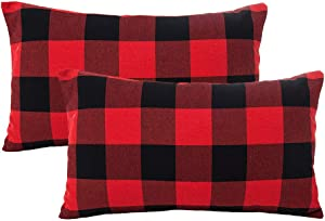 4TH Emotion Set of 2 Christmas Buffalo Check Plaid Throw Pillow Covers Lumbar Oblong Rectangle Cushion Case Cotton Polyester for Farmhouse Home Decor Red and Black,12x20 Inches