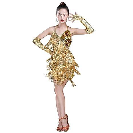 Gtagain Latino Danza Abiti Frange Vestito Donna - Paillettes Gonna Senza  Maniche Halter Nappa Dancewear Costume eec0aee20b5