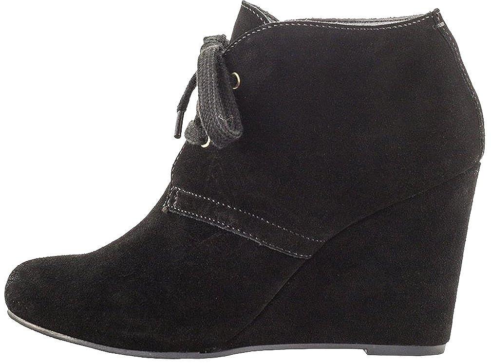 Calaier Damen Cashout 8CM Keilabsatz Reißverschluss Stiefel Schuhe