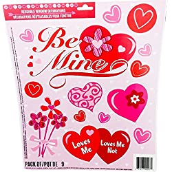 Valentine's Day Glitter Decorative Window Clings (Be Mine)