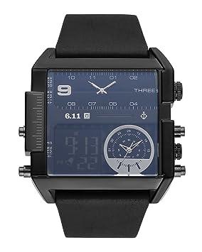 6.11 Hombres Cuadrados Múltiples Relojes De Cuarzo De Zona Horaria Reloj De Pulsera De Cuero Para Hombre Impermeable Relogio Masculino,Black: Amazon.es: ...