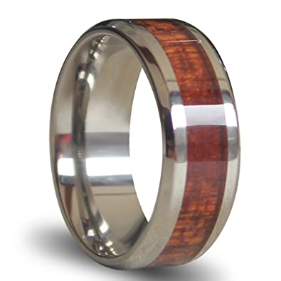 white beveled titanium rings inlaid wood wedding bands 8mm matching couple tungsten rings with polished edges - Wood Wedding Ring