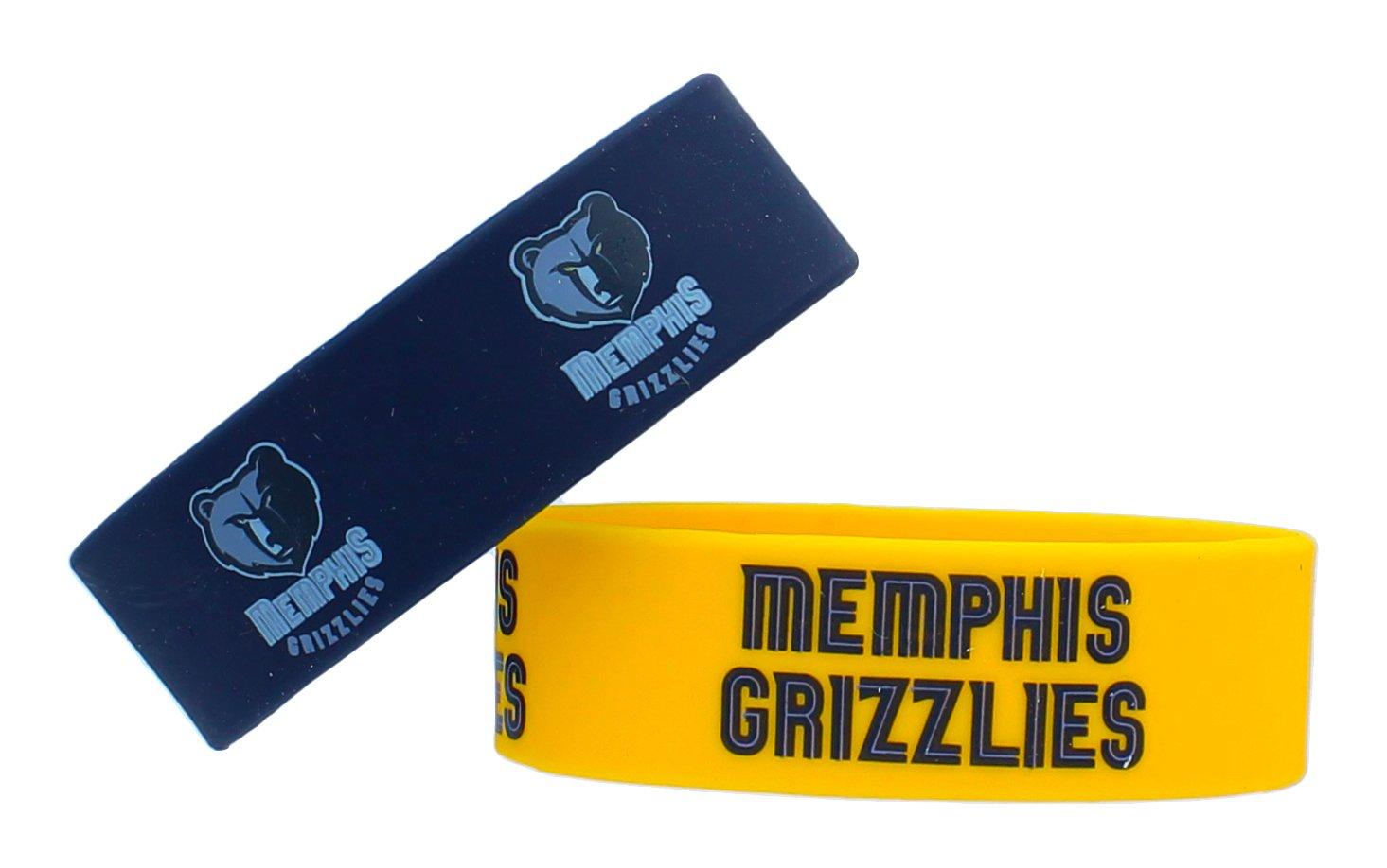aminco NBA Memphis Grizzlies Silicone Rubber Bracelet, 2-Pack
