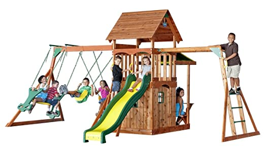 Backyard Discovery Saratoga Cedar Swing Set. This Swing Set Features A Slew  Of Fun Activities With Swings, A Slide, A Clubhouse, And Monkey Bars For  Hours ...