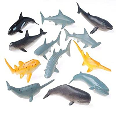 US Toy Lot of 12 Assorted Whale And Shark Toy Figure: Toys & Games