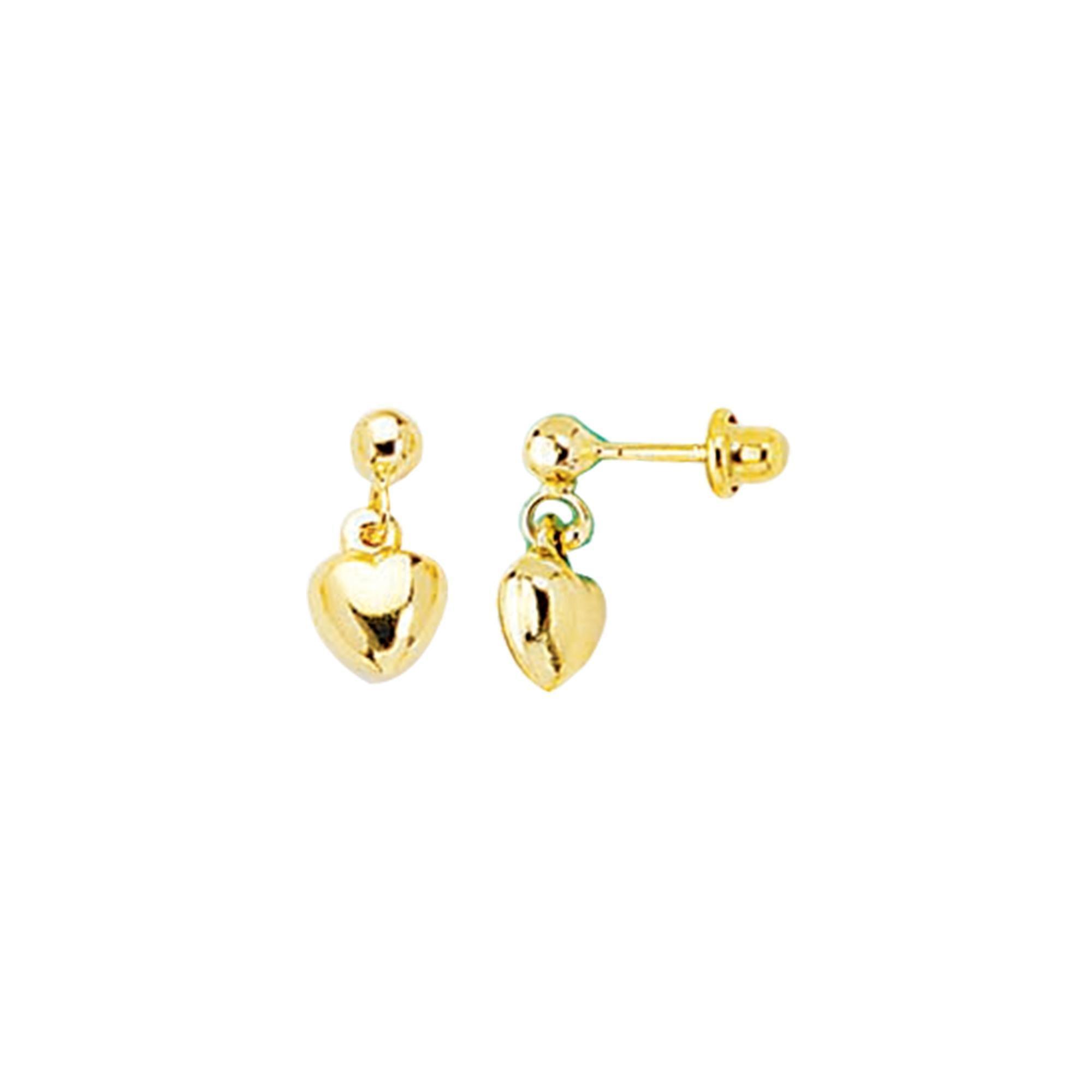 14k Yellow Gold Polish Finish Heart Girls Dangle Earring