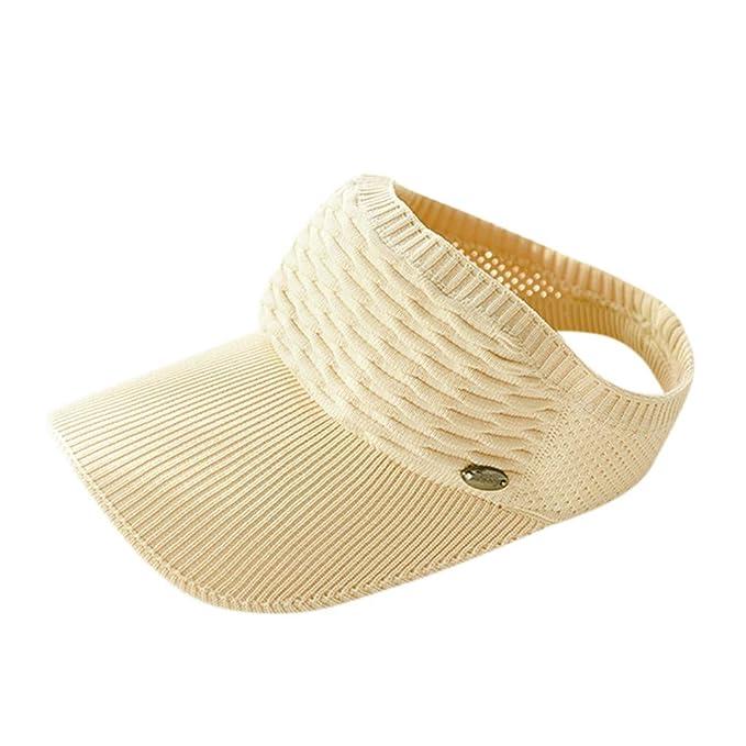 d10cb027d8dfc1 Unisex Adjustable Cap Summer Sunscreen Sun Visor Hat,Babymomo Outdoor  Sports Knitted Duck tongue Empty Top Hat(Beige): Amazon.co.uk: Clothing
