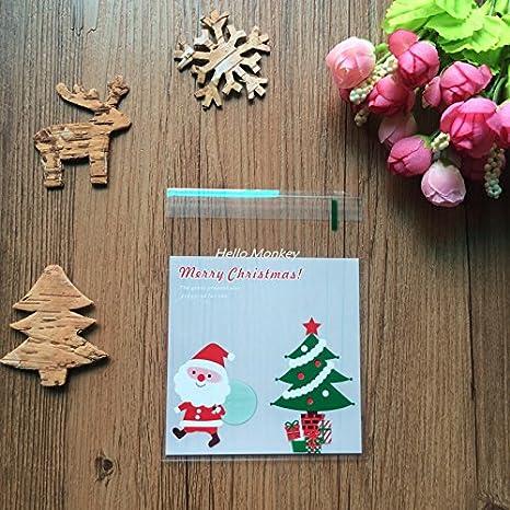 Christmas green 300pcs Bolsa de Caramelo Cajas de Tartas Cookie Panader/ía Biscuit Feliz Navidad Regalo Pl/ástico