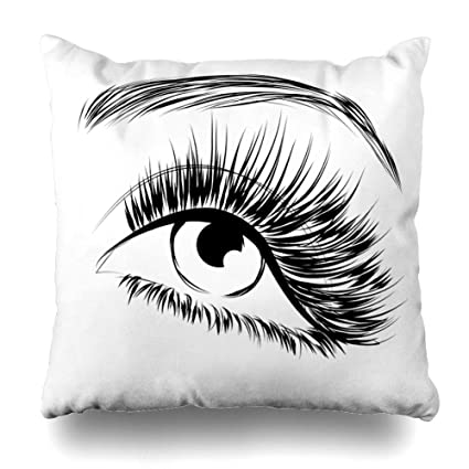 ba2cae508f0 DIYCow Throw Pillows Covers Black Eyelash Lovely Eye Long Eyelashes Lash  Extension Eyebrow Beauty Home Decor