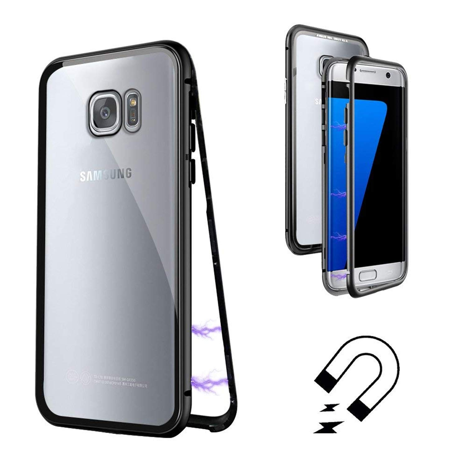 Galaxy S7 Edge Case, Magnetic Adsorption Flip Cover Case, Metal Frame Hard Clear Tempered Glass (Samsung Galaxy S7 Edge, Black)