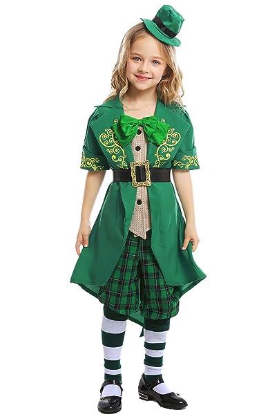 Amazon.com: Disfraz de elfo verde de San Patricio para niños ...