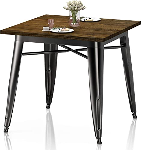 VIPEK Heavy-Duty Metal Dining Table w Solid Wood Top 31.4 Square 29.5 High Bistro Bar Cafe Restaurant Home Kitchen Dining Room Table Patio Table Farmhouse Industrial Style