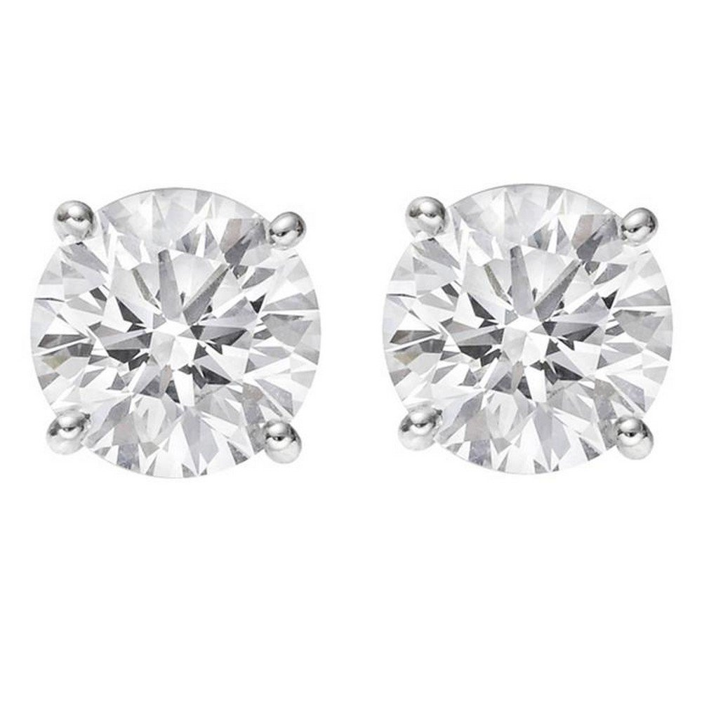 1 Carat GIA Certified Round Diamond Stud Earrings 18K White Gold 4 Prong Push Back D-E VS1-VS2