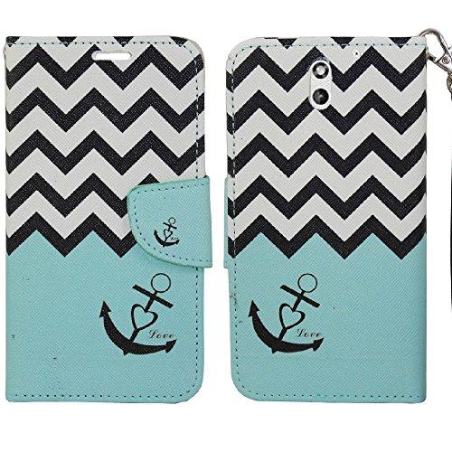 HTC Desire 610 Case, SOGA PU Leather Magnetic Flip Design Wallet Case for HTC Desire 610 - Teal Chevron Anchor Love - 610 For Htc Desire Cases Teal