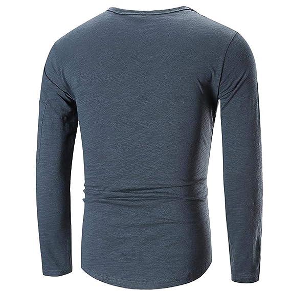 Tops Casuales para Hombre Camiseta con Cremallera de Manga Larga Blusa con Cuello Redondo y Pliegue en Color Liso, BaZhaHei, Camiseta de Manga Larga para ...